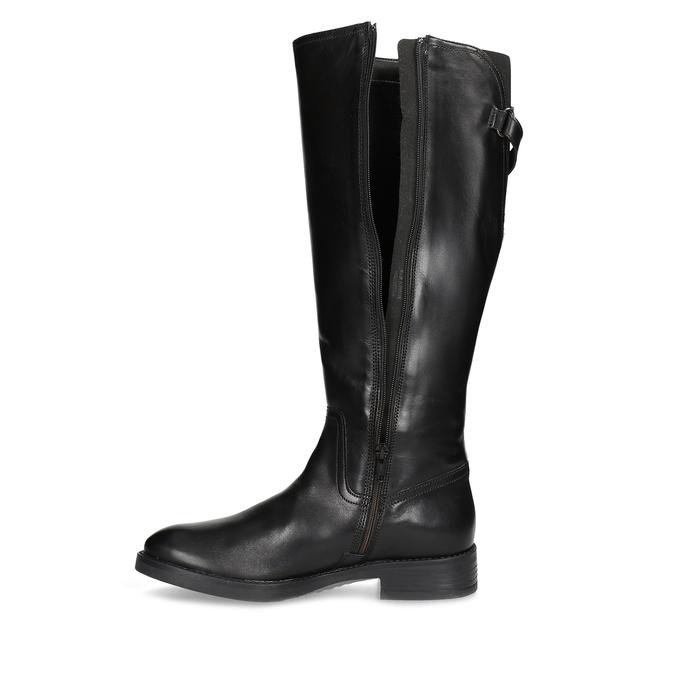 Kožené čierne čižmy s prackou bata, čierna, 594-6678 - 17
