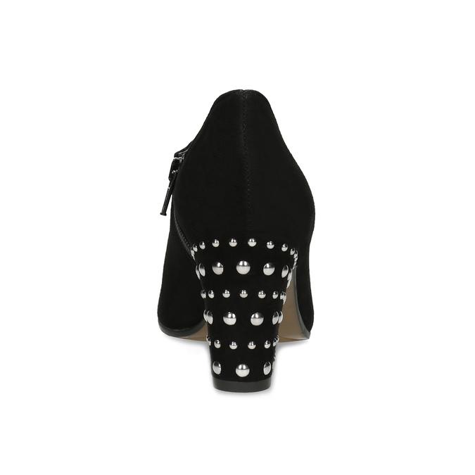 Dámska kožená členková obuv s cvočkami bata, čierna, 723-6661 - 15