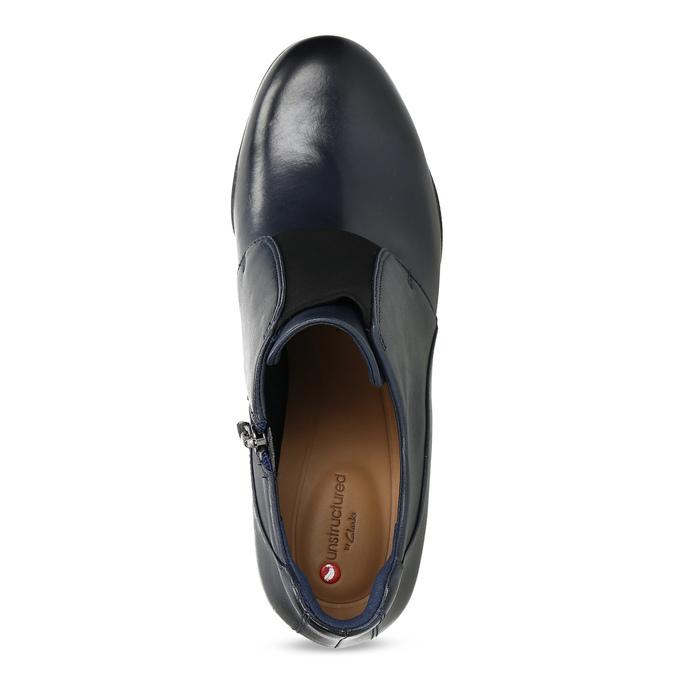 Modrá kožená členková obuv s pružením clarks, modrá, 716-9076 - 17
