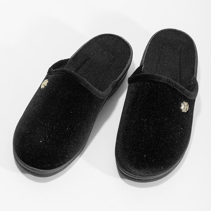 Dámske domáce čierne nazuváky bata, čierna, 579-6631 - 16