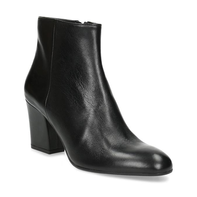 Členková kožená obuv na stabilnom podpätku bata, čierna, 796-6654 - 13