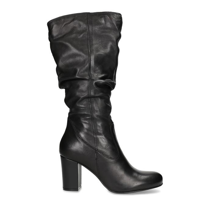 Kožené dámske čižmy s riasením bata, čierna, 794-6664 - 19