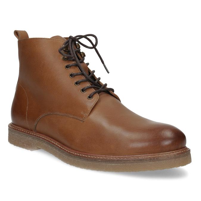 Hnedá kožená členková pánska obuv bata, hnedá, 896-3721 - 13