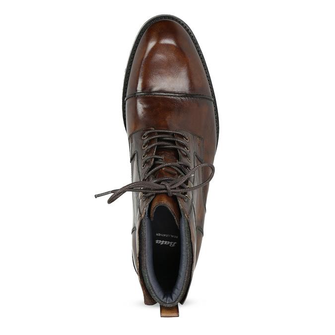 Pánska hnedá lesklá členková obuv bata, hnedá, 896-3720 - 17