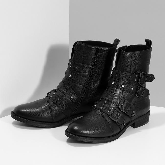Čierne kožené čižmy s kovovými cvočkami steve-madden, čierna, 514-6025 - 16