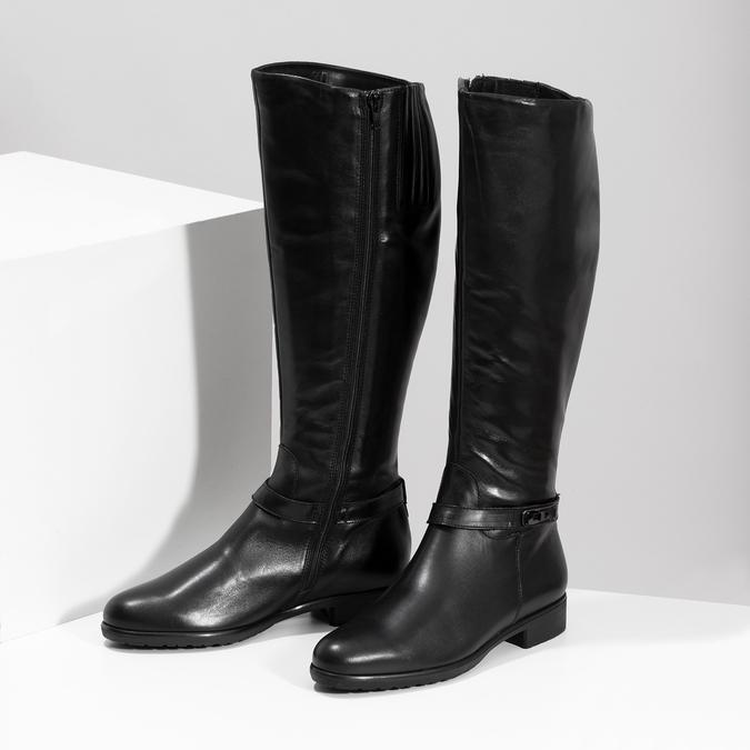 Kožené čierne dámske čižmy bata, čierna, 594-6676 - 16