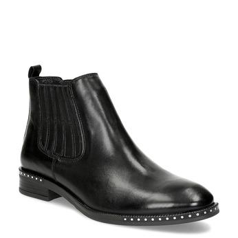 Dámska kožená Chelsea obuv s kamienkami bata, čierna, 594-6682 - 13