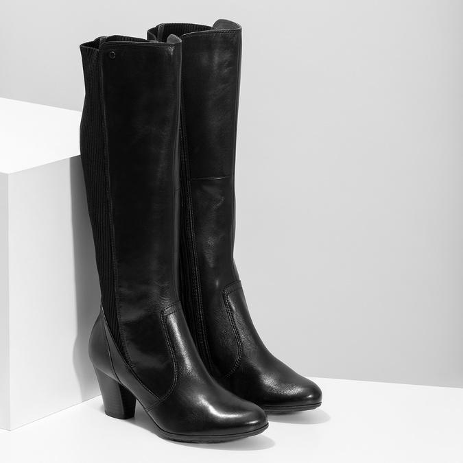 Kožené čierne dámske čižmy s úpletom, čierna, 696-6657 - 26