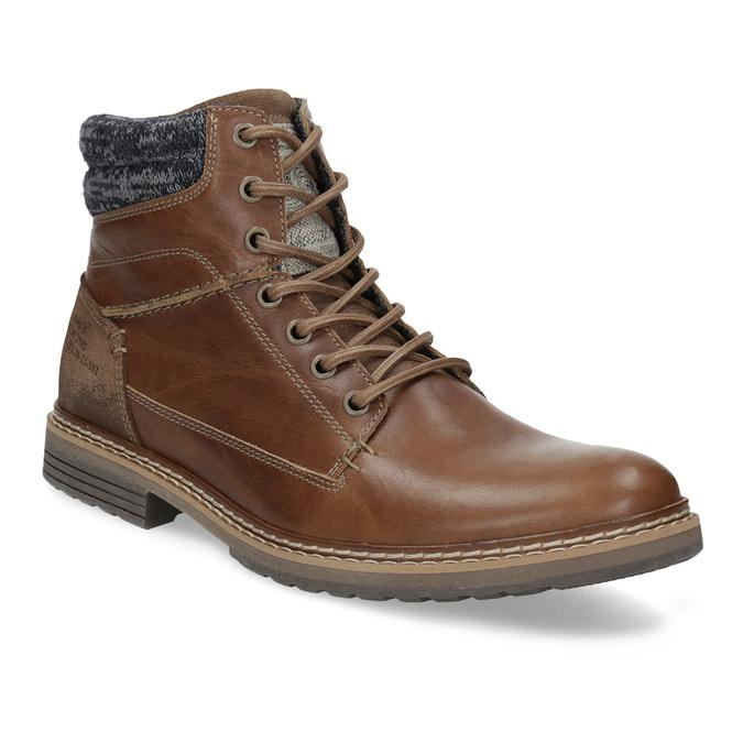 Kožená hnedá pánska členková obuv bata, hnedá, 896-3713 - 13