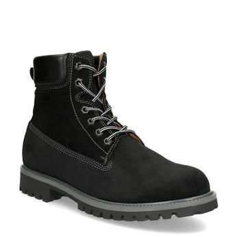 Pánska kožená členková obuv s prešitím weinbrenner, čierna, 896-6733 - 13