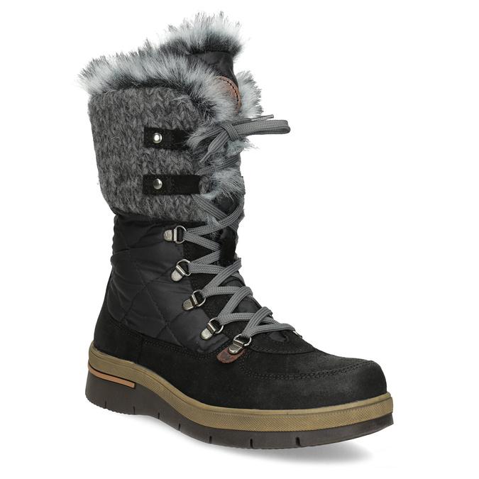 Dámska čierna zimná obuv s kožúškom weinbrenner, čierna, 596-6755 - 13