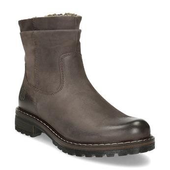 Hnedé dámske kožené zimné čižmy bata, hnedá, 596-4703 - 13