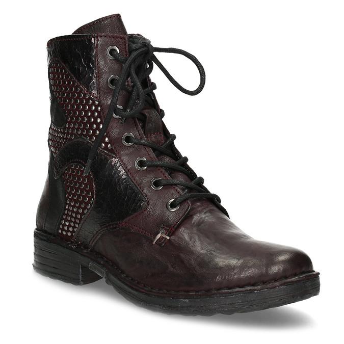 Vínová kožená dámska členková obuv bata, červená, 596-5741 - 13
