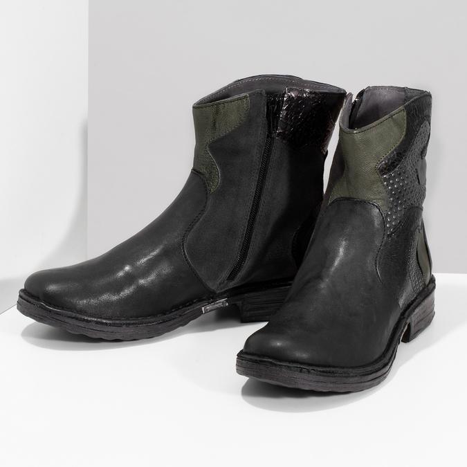 Kožená členková obuv s cvočkami bata, čierna, 596-6742 - 16