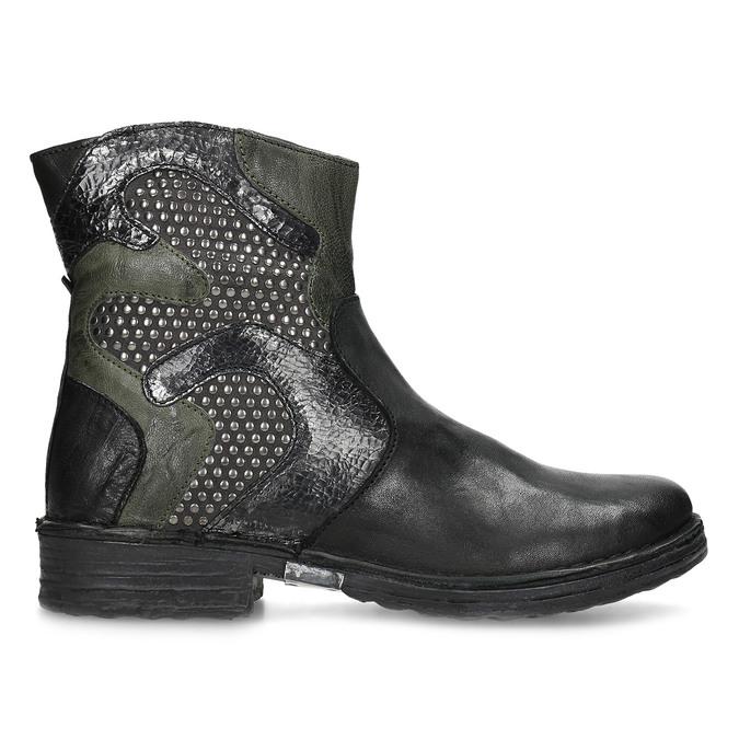 Kožená členková obuv s cvočkami bata, čierna, 596-6742 - 19
