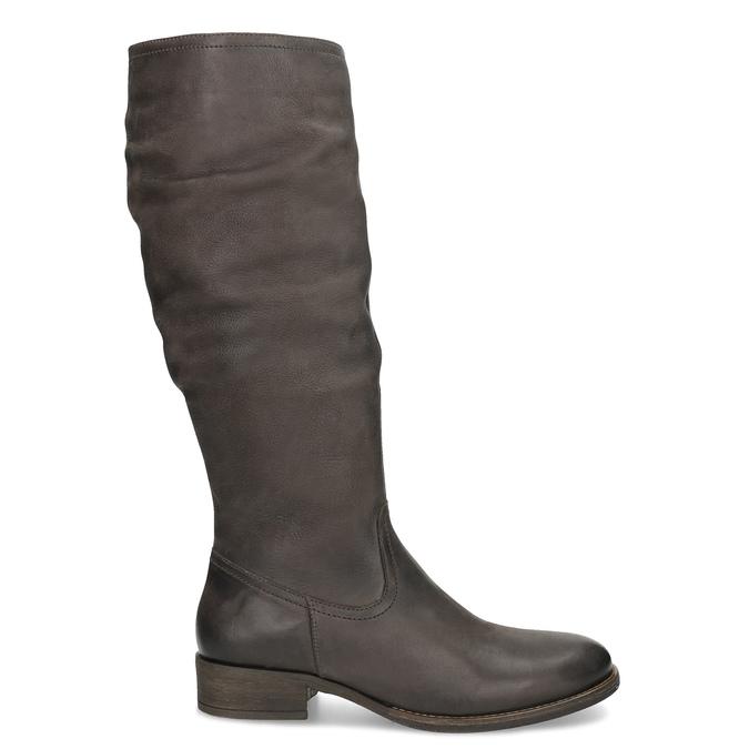 Kožené hnedé čižmy s prešitím bata, hnedá, 596-4700 - 19