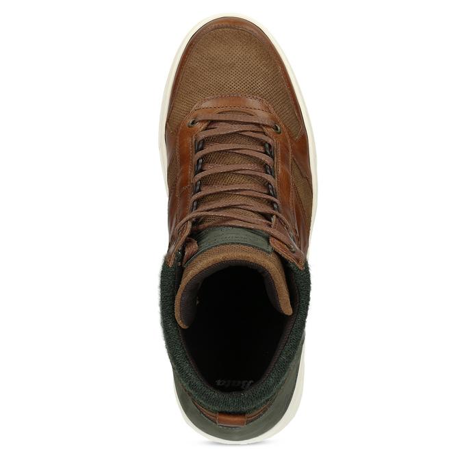 Hnedé členkové kožené tenisky bata, hnedá, 846-3722 - 17