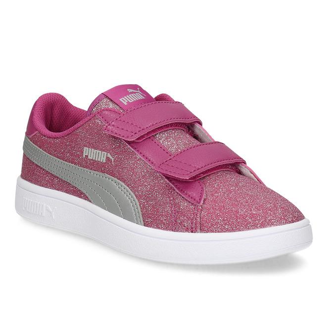 Ružové detské tenisky na suchý zips puma, ružová, 301-5224 - 13