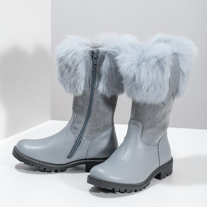 Detské kožené zimné čižmy s kožúškom mini-b, šedá, 394-2202 - 16