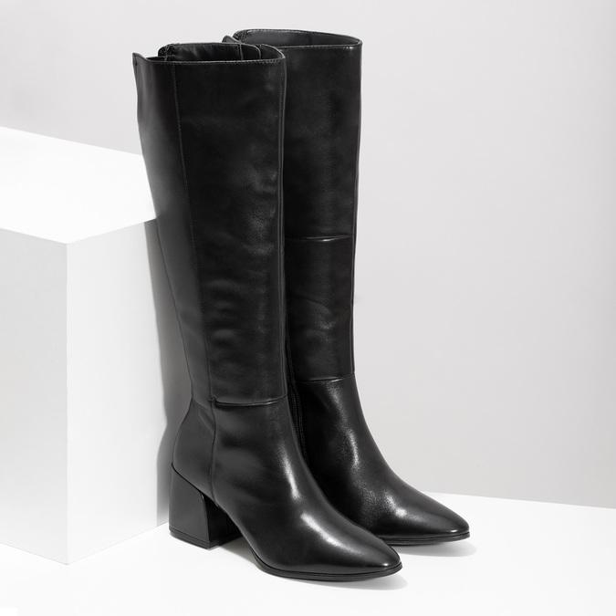 Kožené čierne čižmy s decentným prešitím bata, čierna, 694-6673 - 26