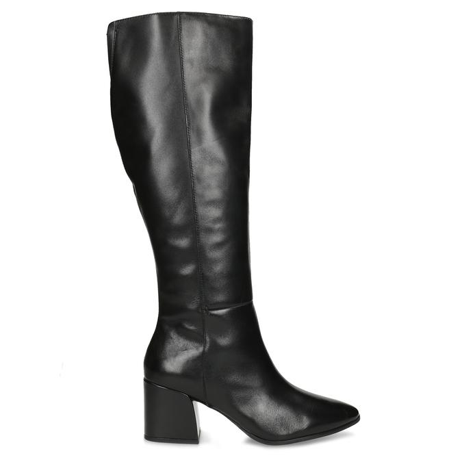 Kožené čierne čižmy s decentným prešitím bata, čierna, 694-6673 - 19