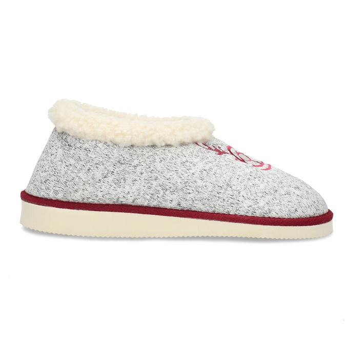 Dámska domáca obuv so zateplením bata, šedá, 579-2640 - 19