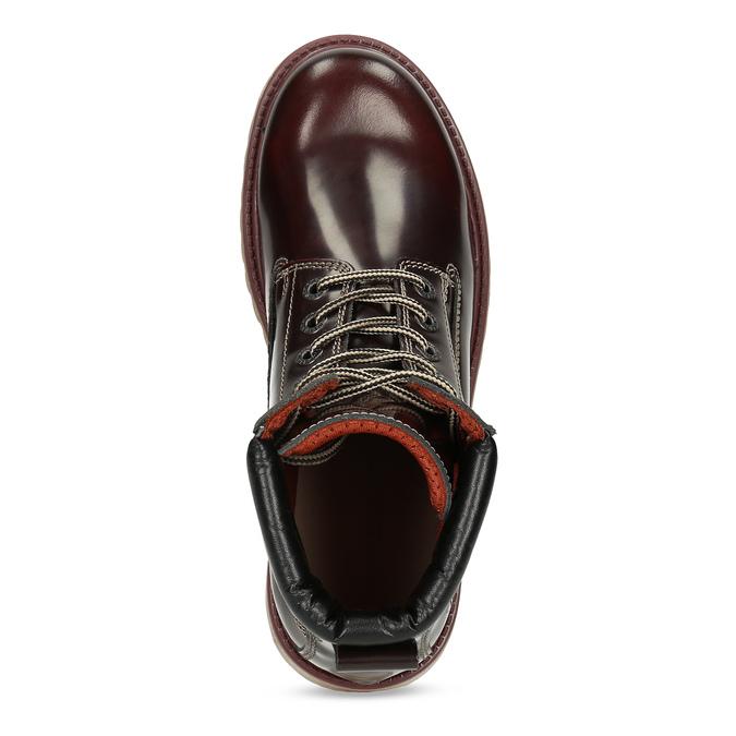 Vínová dámska kožená členková obuv weinbrenner, červená, 596-5726 - 17