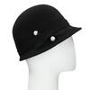 Čierny dámský klobúk s perličkami bata, čierna, 909-6283 - 13