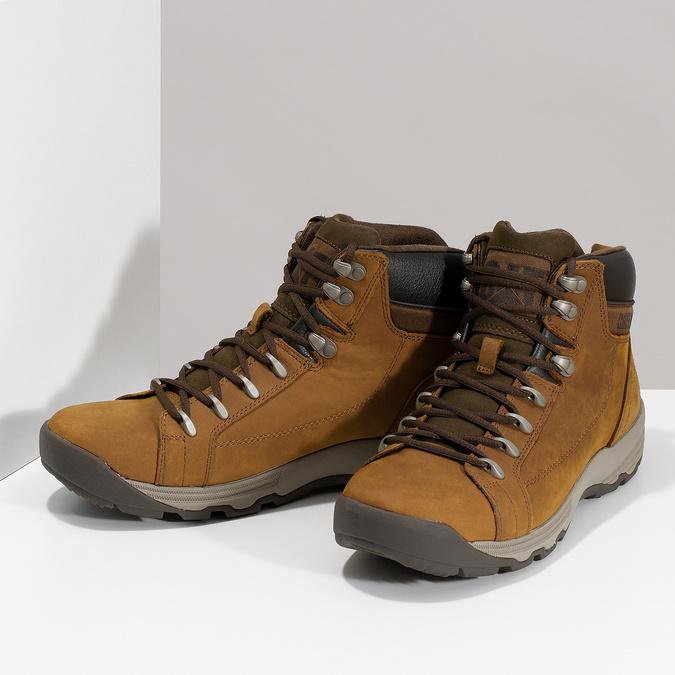 Hnedá pánska kožená členková obuv caterpillar, hnedá, 806-3107 - 16