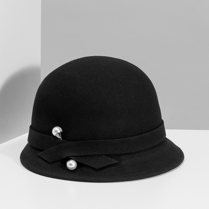 Čierny dámský klobúk s perličkami bata, čierna, 909-6283 - 15