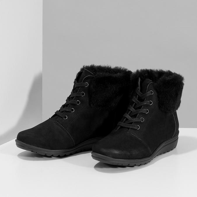 Členková dámska kožená obuv comfit, čierna, 596-6711 - 16