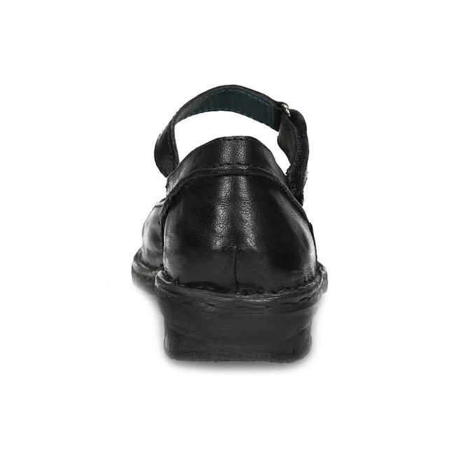 Kožené čierne baleríny s remienkom bata, čierna, 526-6664 - 15