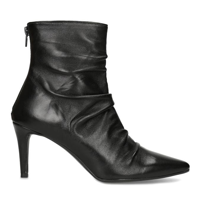 Čierne kožené čižmy s riasením bata, čierna, 794-6662 - 19