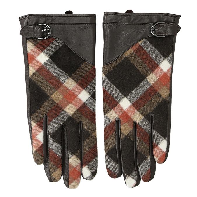 Dámske kožené hnedé kárované rukavice bata, hnedá, 904-4138 - 26