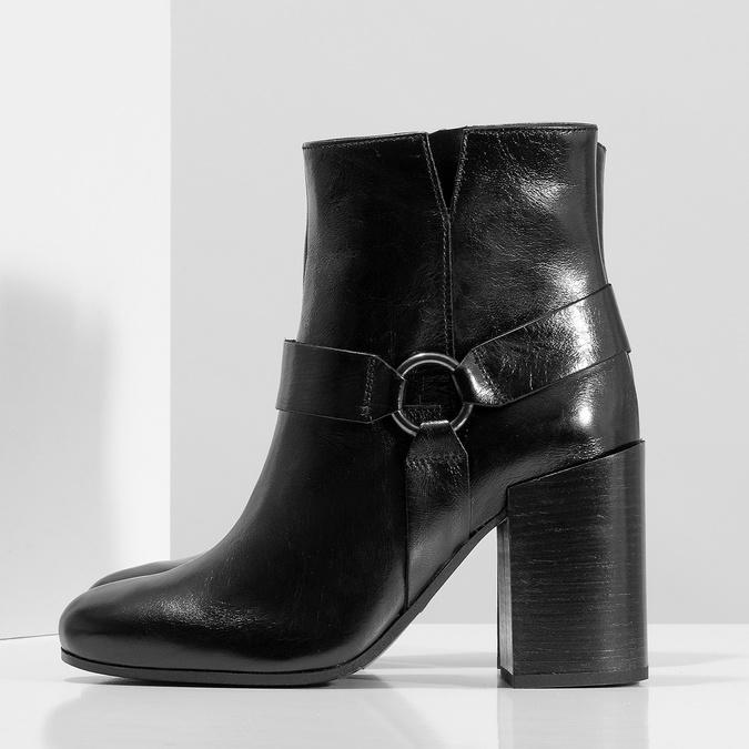 Kožená členková obuv na vysokom podpätku bata, čierna, 796-6661 - 16