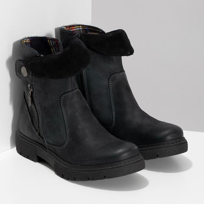 Dámska kožená zimná obuv s prešitím weinbrenner, čierna, 596-6751 - 26