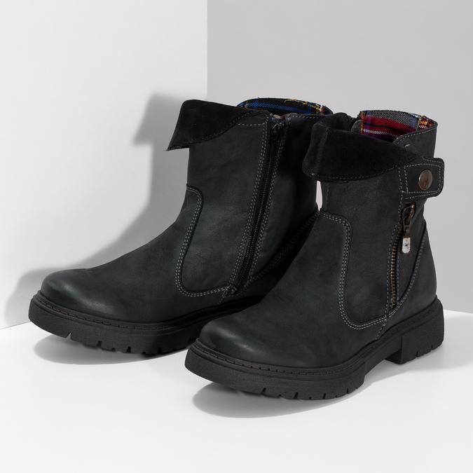 Dámska kožená zimná obuv s prešitím weinbrenner, čierna, 596-6751 - 16