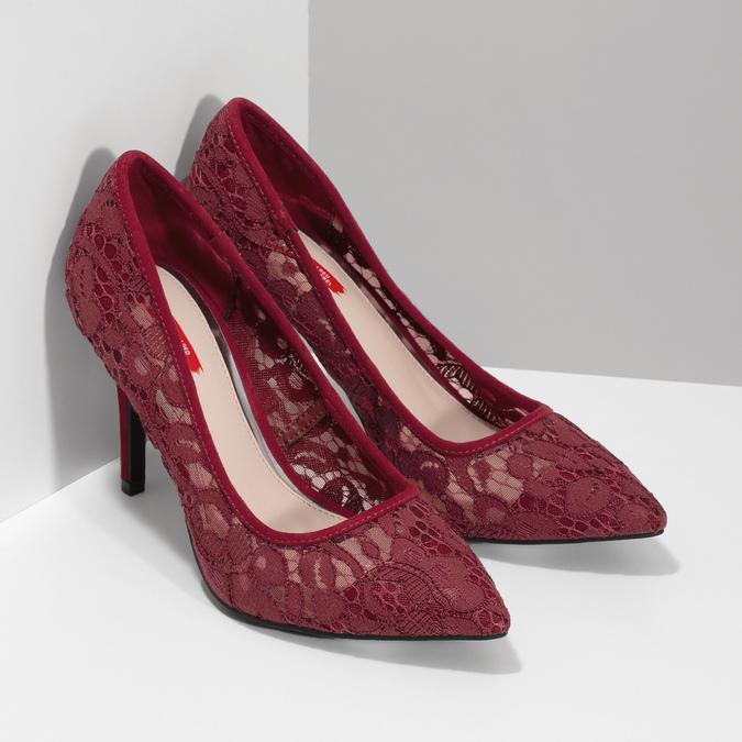 Vínové lodičky do špičky s čipkou bata-red-label, červená, 729-5631 - 26