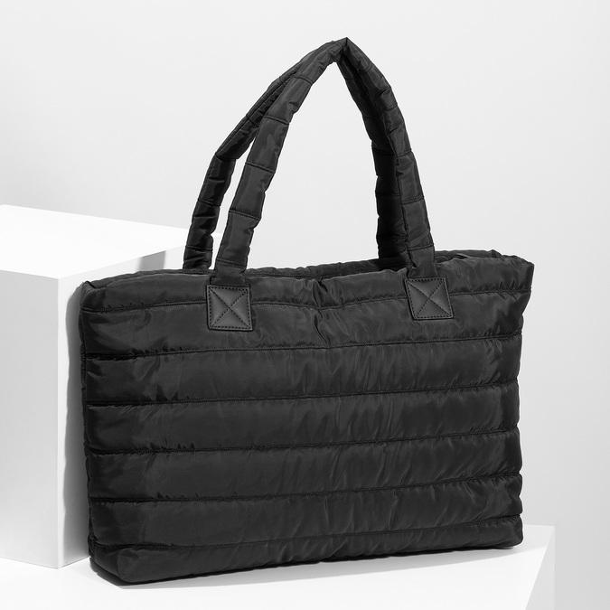 Dámská čierna kabelka s prešitím bata, čierna, 969-6810 - 17