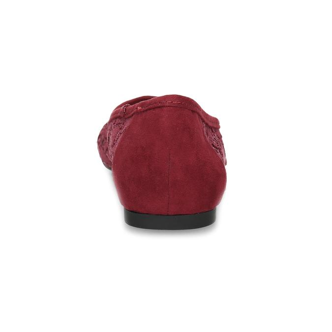 Vínové baleríny s čipkou do špičky bata-red-label, červená, 529-5643 - 15