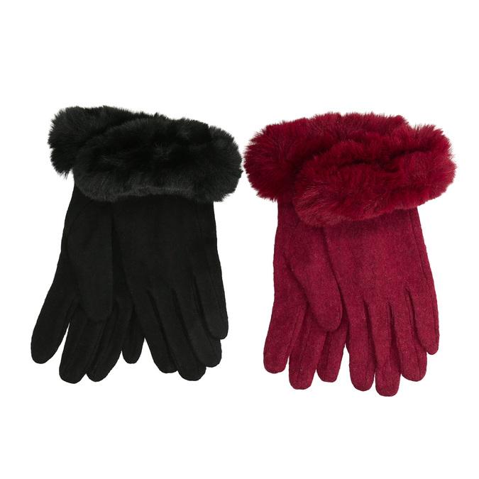 Dámske rukavice s kožúškom bata, viacfarebné, 909-0505 - 13