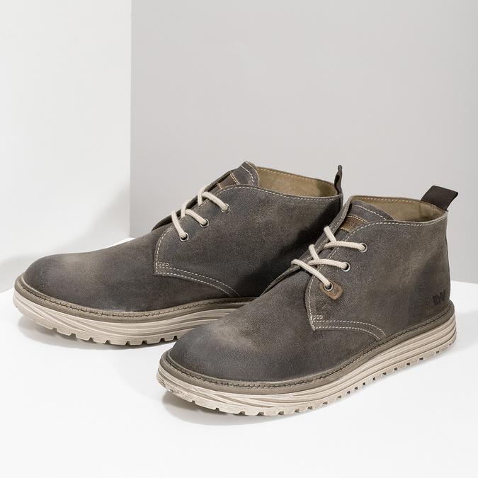 Pánska členková obuv z brúsenej kože weinbrenner, šedá, 896-2735 - 16