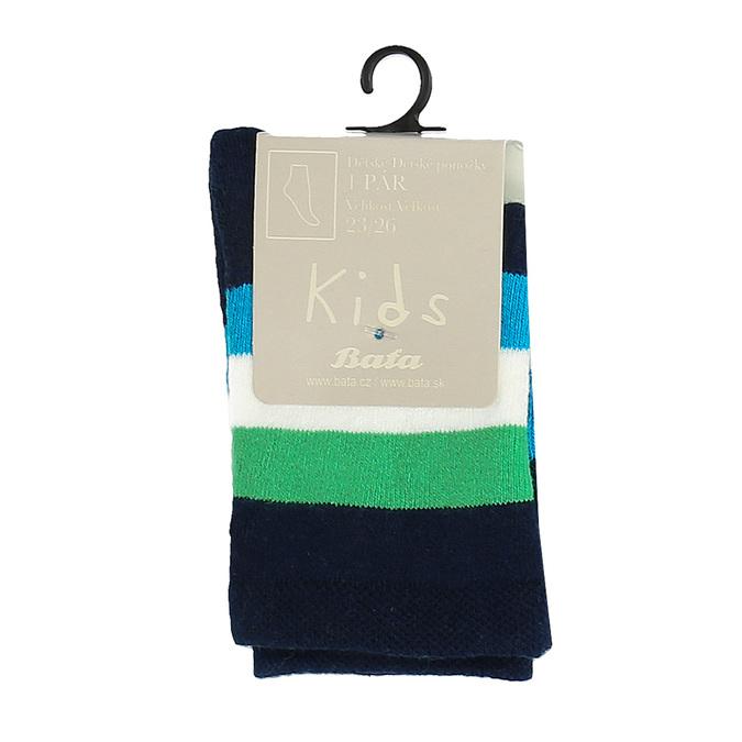 Detské vysoké ponožky s prúžkami bata, zelená, 919-7688 - 13