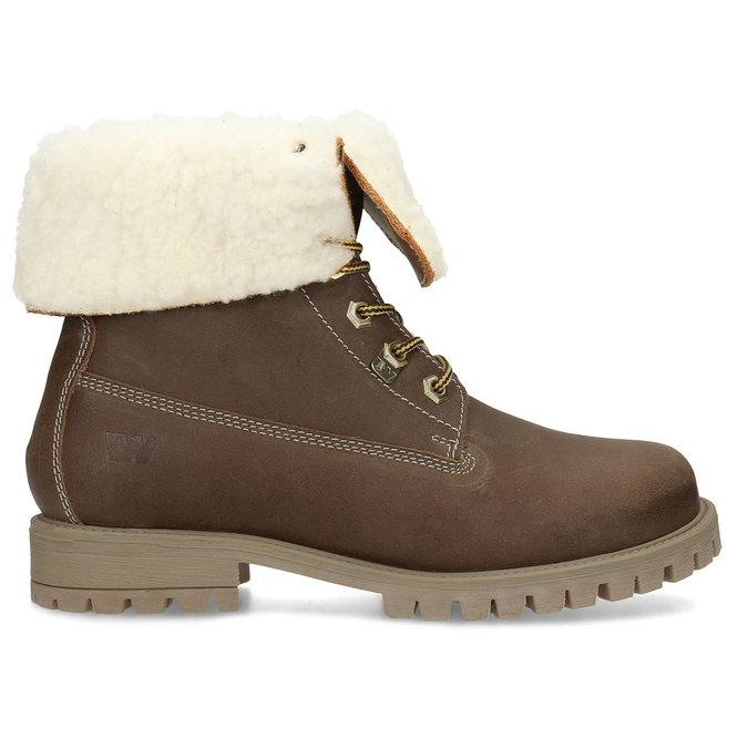 Dámska hnedá kožená zimná obuv weinbrenner, hnedá, 596-3743 - 19