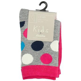 Detské vysoké bodkované ružové ponožky bata, viacfarebné, 919-5686 - 13