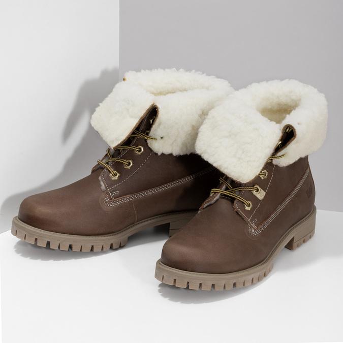Dámska hnedá kožená zimná obuv weinbrenner, hnedá, 596-3743 - 16