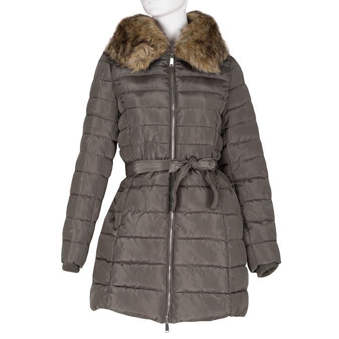 Dámska khaki bunda s prešívaním a kožúškom bata, hnedá, 979-8325 - 13
