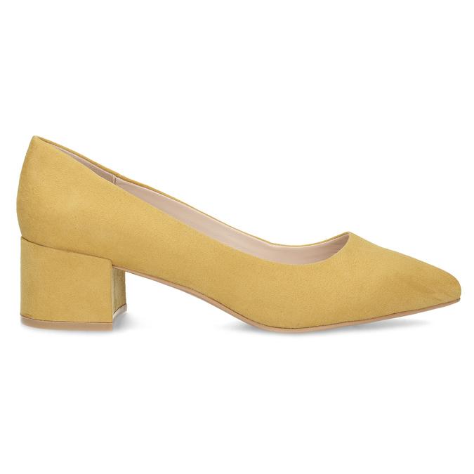 Žlté dámske lodičky na stabilnom podpätku bata-red-label, žltá, 629-8655 - 19