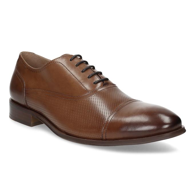 Hnedé kožené Oxford poltopánky s perforáciou bata, hnedá, 826-3834 - 13