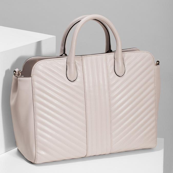 Béžová dámska kabelka s prešitím bata-red-label, ružová, 961-5950 - 17